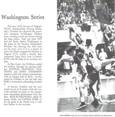 Recap of the 1957-58 Washington-Oregon basketball series. From the 1958 Oregana (University of Oregon yearbook). www.CampusAttic.com