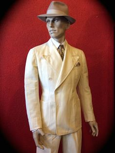 1930s White Belted Back Palm Beach Mens Suit Size By Cavemanteeks Linen Belt