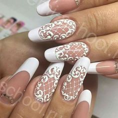 30 Fairy-Like Wedding Nails For Your Big Day – Fancy Nails Simple Wedding Nails, Wedding Nails Design, Lace Nail Design, Nail Art Designs, Nail Art Dentelle, Hair And Nails, My Nails, Bride Nails, Dream Nails