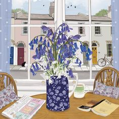 'Bluebells And Wild Garlic', by UK Artist Mig Wyeth. Published by Green Pebble. Botanical Illustration, Illustration Art, Wild Garlic, Rare Birds, Square Card, Illustrations, Light Painting, Flower Art, Contemporary Art