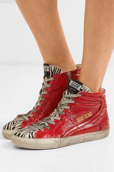 Golden Goose Deluxe Brand - Slide Distressed Calf Hair Glossed-leather High-top Sneakers - Red