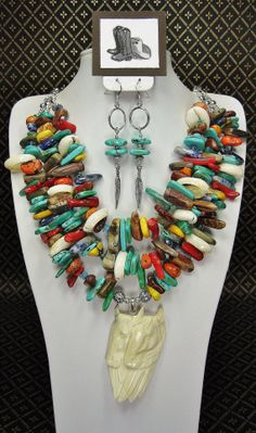 TRIPLE STRAND COWGIRL Necklace Multicolor by CayaCowgirlCreations, $110.00