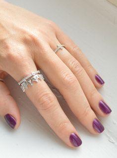 Princesa corona diadema anillo anillo apilable por barargent