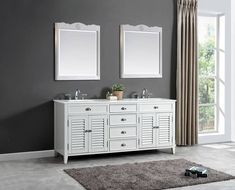 Modern white double wood vanity with make up area Wood Vanity, Plumbing, Double Vanity, Bathroom, Modern, How To Make, Home Decor, Washroom, Timber Vanity