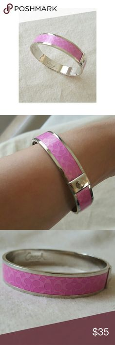 🎉HP 10/13🎉 COACH Bangle_Authentic Elegant bangle  Silver and pink Heavy duty  Great piece for layering NWOT! Coach Jewelry Bracelets