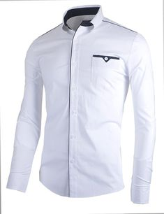 Buy Mens Classic Slim Fit Dress Shirt Casual Shirt - White - and Others Best Selling Men's Shirts with Affordable Prices Mens Dressing Styles Casual, Man Dressing Style, Casual Chic Style, Trendy Style, Men's Style, Classic Style, Slim Fit Dress Shirts, Slim Fit Dresses, Fitted Dress Shirts