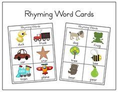 rhyming word cards. great blog for preschool