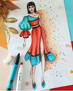 Fashion illustration of woman in orange asymmetric dress, Digital file Dress Design Drawing, Dress Design Sketches, Fashion Design Sketchbook, Fashion Design Drawings, Fashion Sketches, Fashion Design Illustrations, Fashion Drawing Dresses, Fashion Illustration Dresses, Croquis Fashion