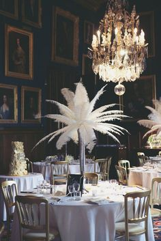 Elaborate 1940s Vintage Castle Wedding Ostrich Feathers, Glam, 1950s, Mid Century, Gold, Black Gala Event