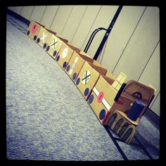 Cardboard train - checked off the list! - My Grandson's birthday party... The boxes were the HIT of the party!