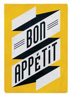 Guten Appetit Französisch bonjour by edubarba collages prints etsy font a licious