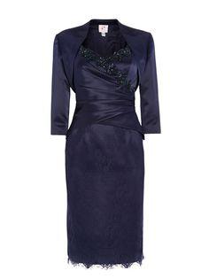 ANOUSHKA G Satin and lace dress with satin bolero, Blue