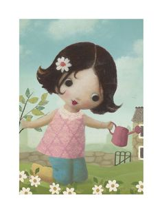 Girl watering can flowers  by Stephen Mackey