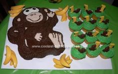 Homemade Monkey Cake and Cupcakes: This Monkey Cake and Cupcakes was for a monkey themed birthday party. It was for baby Aiden's 1st birthday. Right away I knew I wanted to do monkey's and