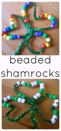 Kids will love working on their fine motor skills as they  make these beaded shamrocks. Love that preschoolers can also work on colors and patterns with this St. Patrick's Day activity! #FunADay #stpatricksdaycrafts #preschool #preschoolactivities #preschoolers