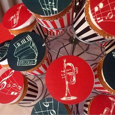 Music themed photo cupcakes from @cardique  thanks for tagging #topperoo!. See the best Edible Image Designs posted daily at http://topperoo.com/edible-image-designs/