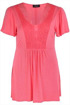 Coral  Longline Jersey Top With Crochet Trim
