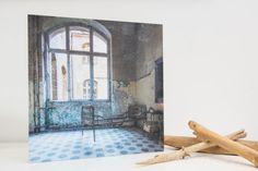 """the last patient - photo-encaustic art - 40x40cm (16x16"""") blue hospital asylum abandoned creepy spooky encaustic photo-encaustic photography"""