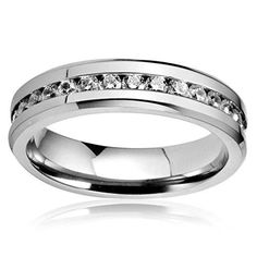 FIBO STEEL Mens Womens Titanium Ring Engagement Wedding Band Cubic Zirconia InlaidSize 10 -- Check out the image by visiting the link. Meteorite Wedding Band, Black Onyx Ring, Wide Band Rings, Knuckle Rings, Titanium Rings, Wood Rings, Stainless Steel Jewelry, Ring Engagement, Wedding Bands