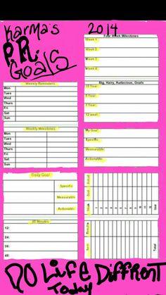 My goal sheet. Use it. Love it  Bank on it!