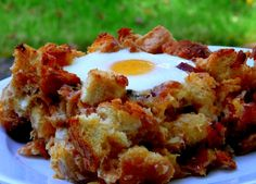 Bacon, Tomato and Cheddar Breakfast Bake with Eggs  adapted from Food & Wine.