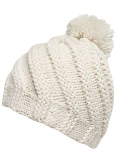 Cream swirl effect knitted hat