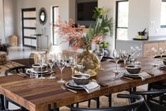 Rustic table setting dining area Rustic Dining Table Set, Dining Area, Safari Decorations, Curtains With Blinds, Upholstery, Table Settings, Interior Design, Furniture, Nest Design