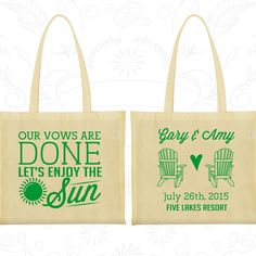 Our Vows are Done, Lets enjoy the Sun, Wedding Canvas Bag, Summer Wedding Bag, Beach Wedding, Beach Chairs, Wedding Bag Favor (508)