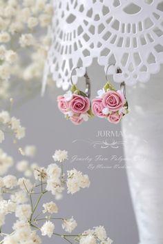 Marina Nurkina Rose Clay, Polymer Clay Flowers, Clay Charms, Clay Creations, Clay Art, Flower Earrings, Clay Jewelry, Wedding Flowers, Jewelery