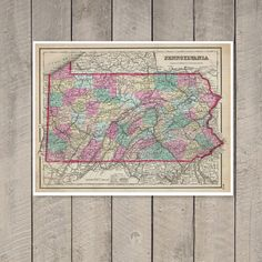 Antique Map of the State of Pennsylvania ca 1857 by PortofPrints