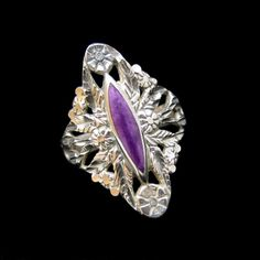 STERLING SILVER CLOUD Large Nouveau Style Vintage Cocktail Ring Flowers Sugilite #MyClassicJewelry
