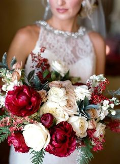 Dark red peonies, roses and red berry bridal bouquet. Pink Winter Weddings, Winter Bridal Bouquets, Winter Bouquet, Bride Bouquets, Snowy Wedding, Red Wedding, Floral Wedding, Wedding Colors, Wedding Flowers