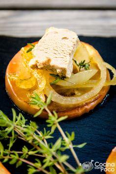 foie manzana y cebolla caramelizada