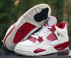 56fd71494e9b1 Nike Air Jordan IV 4 Retro Alternate 89 Size 8 White Black-Gym Red 308497 -106