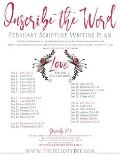 Inscribe the Word - February Scripture Writing Plan is here! In this months Bible Study, we are studying how to Love Like Jesus and how God's love can teach us how to love others. I pray that you join us over at The Felicity Bee as we study God's Word i Bible Study Plans, Bible Plan, Bible Study Journal, Prayer Journals, Writing Plan, Writing Challenge, Scripture Reading, Scripture Study, Faith Scripture