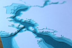 Hand cut 3D paper art of your favorite body of water. So cool. This one is of the SF bay