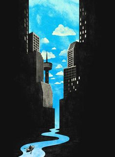 Negative Space Art by Tang Yau Hoong . illusion . surrealism . river cityscape .