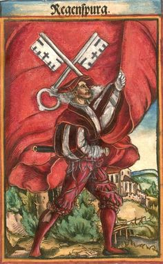 """Regensburg [Regenspurg] (f°46) -- Koebel, Jacob, """"Wapen des heyligen römischen Reichs teutscher Nation"""", Franckfurth am Main, 1545 [BSB Ms. Rar. 2155]"""