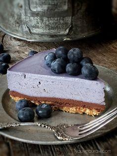 Raw Bountiful Blueberry Chocolate Ganache Cheesecake