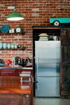 Love the barn door to cover the fridge.