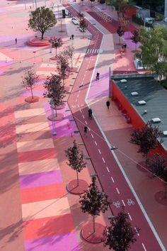 Superkilen masterplan designed by BIG + Topotek1 + Superflex Honored by AIA,© Iwan Baan