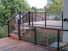 How to & Repairs : Glass Railing Systems For Decks Deck Balusters' Metal Railings' Deck Stair Railing plus How to & Repairss Porch Railing Kits, Glass Balcony Railing, Deck Railing Systems, Glass Railing System, Outdoor Stair Railing, Glass Porch, Deck Railing Design, Deck Railings, Deck Design