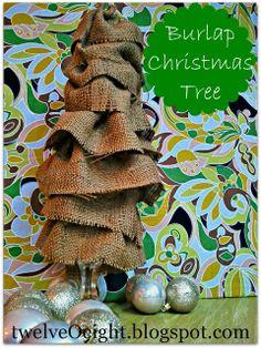 burlap trees | twelveOeight: How To Make Burlap Christmas Trees