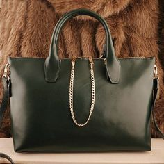 Women's business office lady style #green genuine leather #Satchel bag