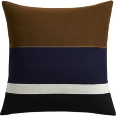 "Shop crosby 20"" pillow. Inspired by a coat we spotted at Paris Fashion Week. Pieced and stitched wool bands create a sophisticated graphic composition in on-trend earthy tones and a subtle pop of navy. Front flips to solid navy cotton back."