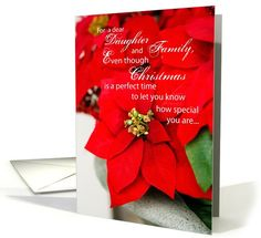 Daughter and Family at Christmas Poinsettia card