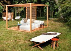 modern sitzecke Pergola bauen liegen sonne
