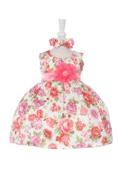 Girls Dress Style ME732- CORAL Sleeveless Satin Floral Print Dress  So dainty and feminine, this style has it all. You will want to enlarge the picture to see all the pretty detailing in the floral pattern. This dress would be perfect for a flower girl, Easter, graduation, or birthday dress.  http://www.flowergirldressforless.com/mm5/merchant.mvc?Screen=PROD&Product_Code=CC_ME732B&Store_Code=Flower-Girl&Category_Code=Pink