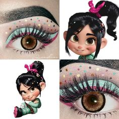 """This beautifully detailed eye makeup was inspired by Vanellope from """"Wreck-it Ralph."""" - This beautifully detailed eye makeup was inspired by Vanellope from """"Wreck-it Ralph."""" Photo – This makeup artist uses her hijab to turn into Disney princesses Orange Makeup, Burgundy Makeup, Red Lip Makeup, Purple Makeup, Crazy Makeup, Colorful Makeup, 70s Makeup, Gothic Makeup, Brown Makeup"""
