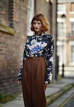 High waisted trousers and interesting shirt